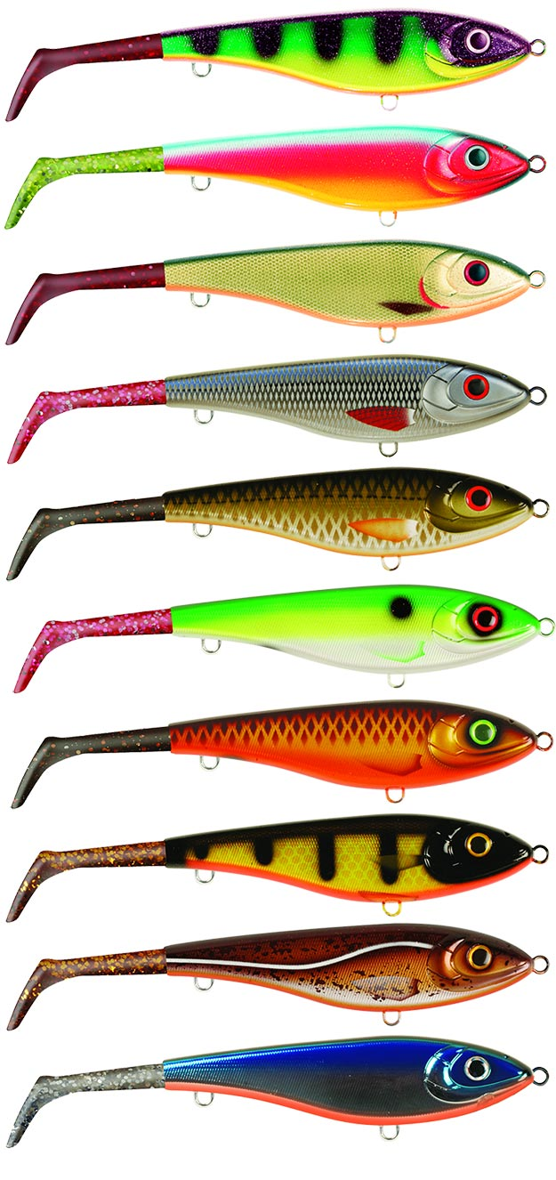 Firetiger - Red Parrot - Chartreuse Skitmört - Red Whitefish - Pink Golden Olive - mossgreen Rugen Shad - Pink Brown Parrot - Motor Oil Black Okiboji Perch - Gold Hot Cod - Gold Blue Chrome OB - Silver