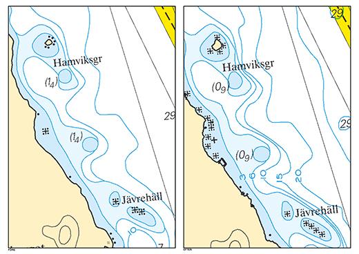 Här går det att se en sjökortsbild från ett område strax söder om Piteå före och efter (till höger) Sjökortslytet. Detaljrikedomen i strandlinjen är högre, och bränningar och övervattenstenar är utmärkta. Djupsiffrorna är även ändrade till den nya referensnivån.