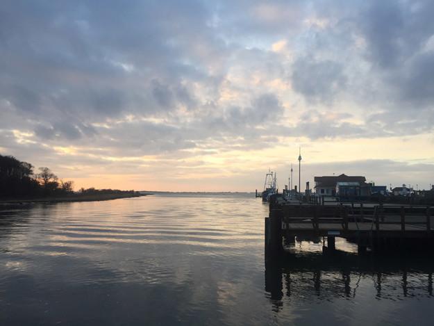 Hamnen i Schaprode, kvällen då vi anlände
